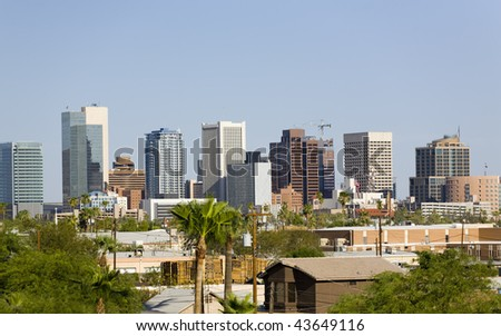 Modern Cityscape of Phoenix Downtown Business Park, Arizona - stock photo