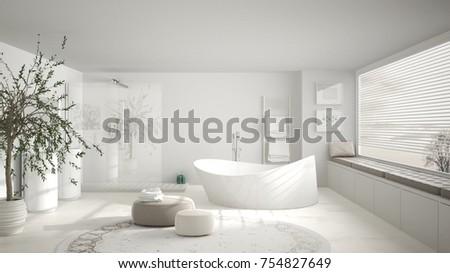 Modern Classic Bathroom With Big Round Carpet, Large Panoramic Window,  Minimalistic White Interior Design