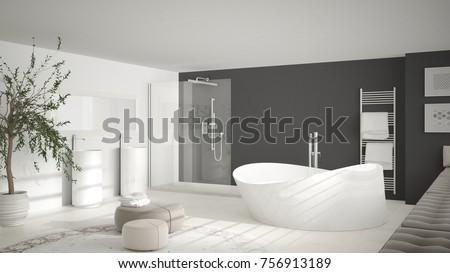 modern classic bathroom with big round carpet minimalistic white and gray interior design 3d