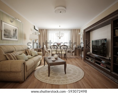 Modern Classic Living Room And Dining Room Interior Design. 3d Rendering Part 68