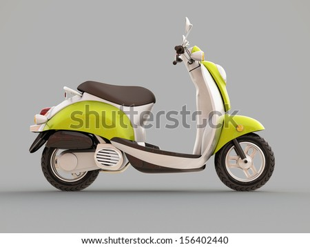 Modern classic scooter on a grey background - stock photo
