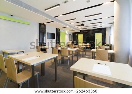 Modern classroom interior - stock photo
