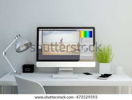 modern clean workspace mockup with photo editor on screen. 3D rendering.