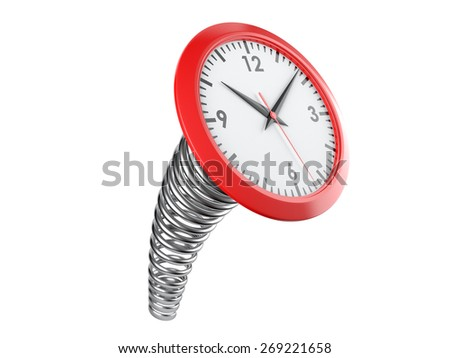 modern clock on a industrial spring. Time concept. 3d illustration isolated on a white background - stock photo