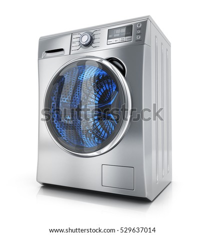Modern clothes washer on white background. 3d illustration
