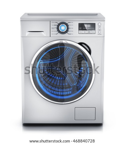 Modern clothes washer on white background (done in 3d rendering)
