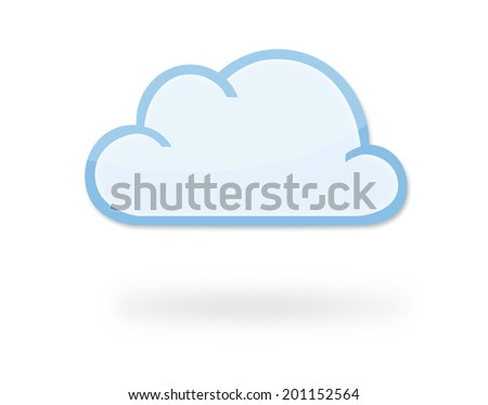 Modern cloud icon with reflection and shadow, which could represent cloud computing, weather... - stock photo