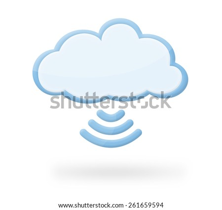 Modern cloud icon with wireless wi-fi symbol and shadow, which could represent cloud computing, wireless ... - stock photo
