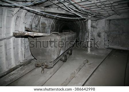 Modern coal mine underground  - stock photo