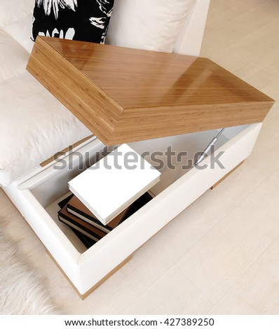 modern coffee table and sofa detail - stock photo