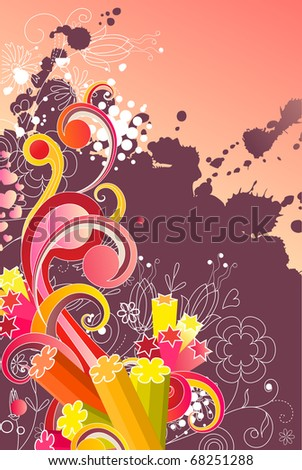 Modern colored background with abstract shapes. Raster version. Vector version is in my gallery.