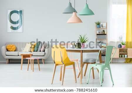 Modern Colorful Chairs Dining Table Under Stock Photo (Royalty Free ...