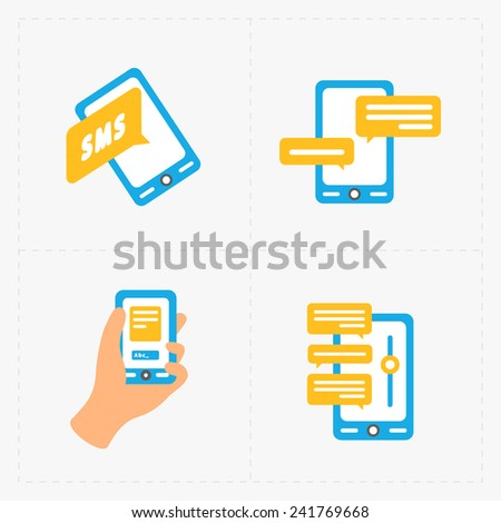 Modern colorful flat social icons set on white Background - stock photo