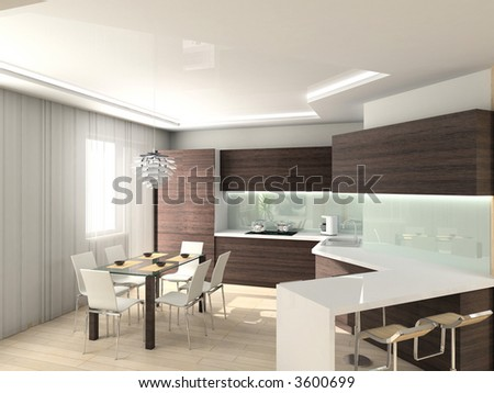 modern comfortable kitchen. 3D render. Hi-tech design