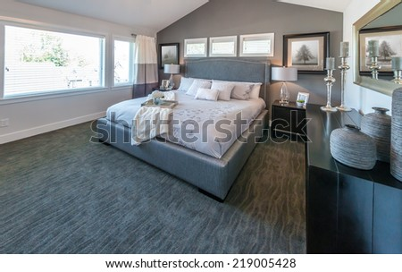 Modern comfortable, nicely decorated and elegant luxury master bedroom. Interior design. - stock photo