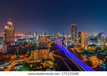 Modern Commercial City (Bangkok) - stock photo