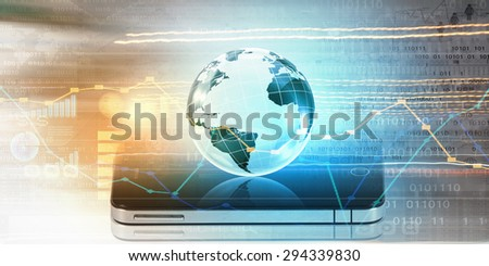 Modern communication technology concept with mobile phone on high tech background