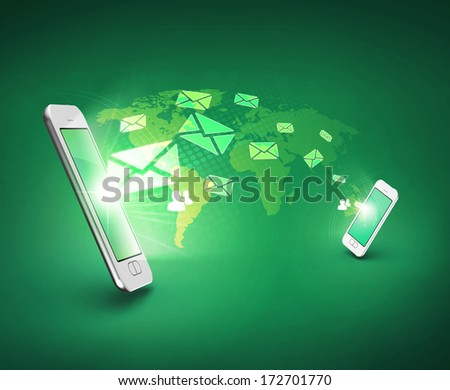 Modern communication technology illustration with messages