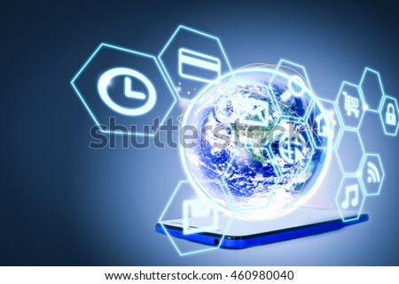 Modern communication technology. smart mobile phone and global network technology background. Elements of this image furnished by NASA