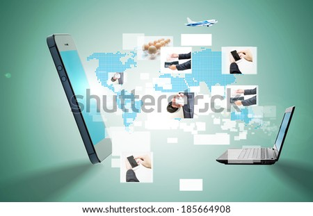 Modern communication technology with mobile phone and high tech background  - stock photo