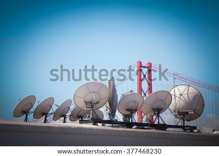 Modern communications satellite dishes, for Technology and global world information worldwide