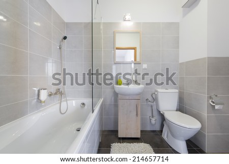 Modern, compact bathroom in scandinavian style - stock photo