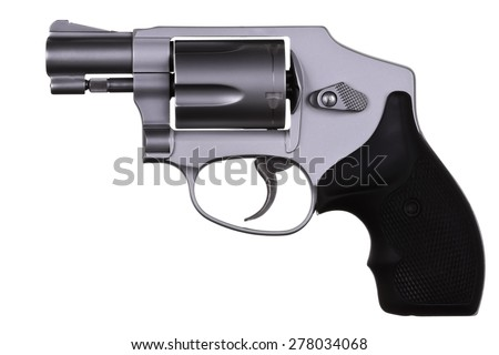 Modern compact short barrel ultra lightweight titanium revolver for concealed carry and personal protection isolated on white background - stock photo