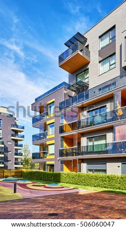 Modern Complex Of Apartment Residential Buildings And Outdoor Facilities