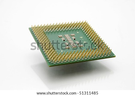 Modern Computer CPU Processor Chip floating in the air. - stock photo