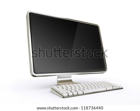 modern computer isolated on a white background - stock photo
