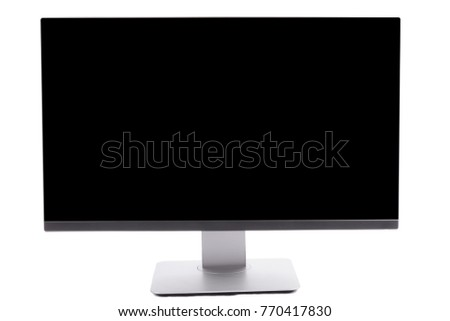 Modern computer monitor with black screen isolated on white.
