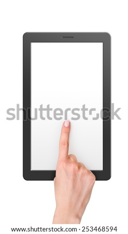 Modern computer tablet with blank screen size 16x9. White background