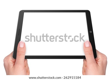 Modern computer tablet with hands. Isolated on white background - stock photo