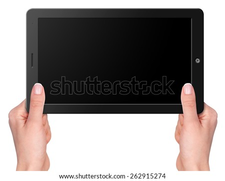 Modern computer tablet with hands screen size 16x9. Isolated on white background - stock photo