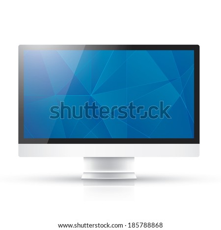 Modern computer with abstract blue geometric background