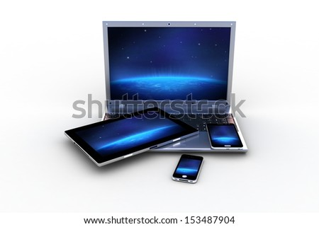 modern computers and pad - stock photo