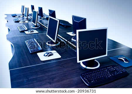 modern computers with LCD screens - stock photo