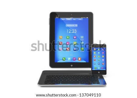 Modern concept Table PC, smartphone and tablet keyboard - stock photo