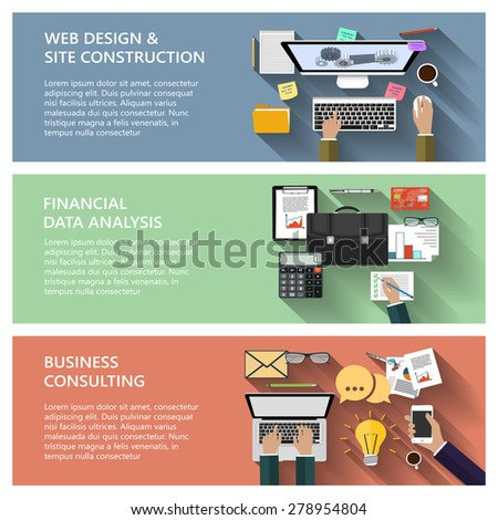 Modern concepts collection in flat design for e-business, web site construction, mobile applications, banners, corporate brochures, book covers, layouts etc. Raster illustration - stock photo