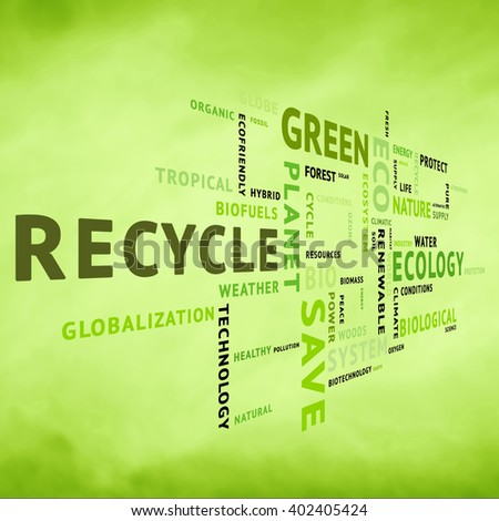 Modern conceptual tag or word cloud on blurred yellow green background containing words related to ecology, environment, ecosystem, nature, etc. Square composition used. illustration. - stock photo