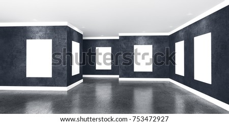 Modern concrete gallery room with directional spotlight and frames. Product artwork exhibition mock up.  3d rendering illustration of interior with black plaster walls in perspective.