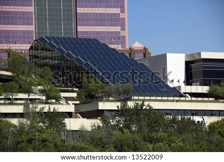 Modern conference centre on the Saskatchewan river valley in Edmonton - stock photo