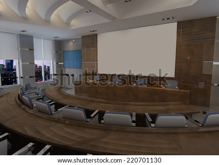 Modern Conference Hall Interior Design 3D Interior Rendering - stock photo