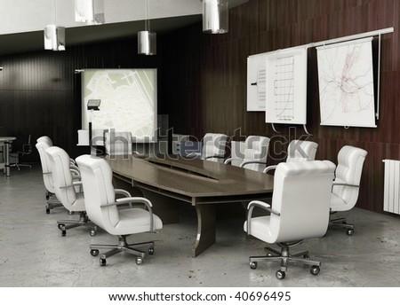 modern conference interior - stock photo