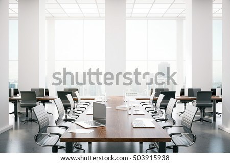 Modern conference room interior with equipment and city view. 3D Rendering