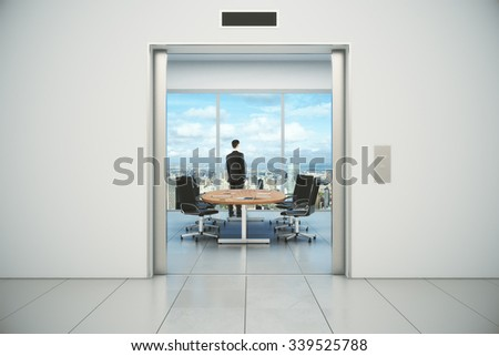 Modern conference room with businessman and city view from the lift entrance 3D Render - stock photo