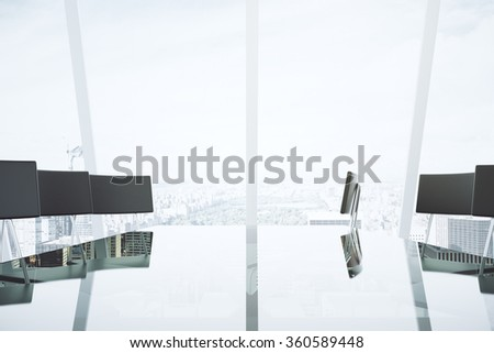 Modern conference room with glassy table and chairs in the office with city view 3D Render - stock photo