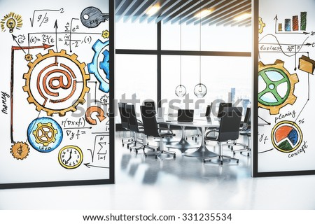 Modern conference room with the concept of business development strategy on the walls 3D Render - stock photo