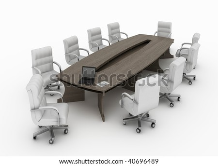 modern conference table with chairs isolated - stock photo