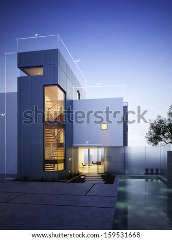 Modern construction with blueprint design accents with room for text or copy space on an evening sky background. - stock photo